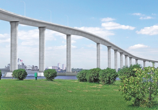 Figure 6 – Rendering - South Norfolk Jordan Bridge – This new concrete segmental bridge will restore a critical transportation link across the Elizabeth River and is 5,371 feet long. (Rendering Courtesy of FIGG)