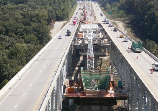 Figure 7 – Northern aerial view of Jeremiah Morrow Bridge reconstruction. (Photo Courtesy of OmniPro Services LLC).