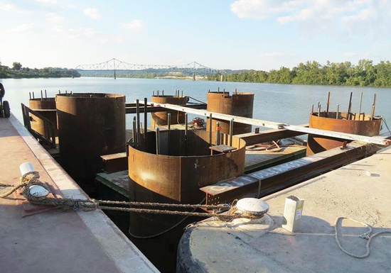 Figure 3 – Pier 3 Caissons Facing Downstream. (Photo Courtesy of Finley Engineering Group, Inc.)