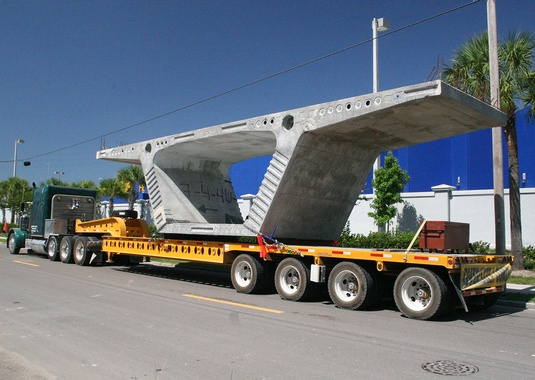 One of the project's 5,238 11-foot-long segments delivered for span-by-span construction. Photo courtesy FIGG.