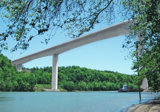Figure 13 – The Pennsylvania Turnpike Monongahela River Bridge is being built in balanced cantilever construction to cross the river, rail lines and local roads. (Rendering Courtesy of FIGG)
