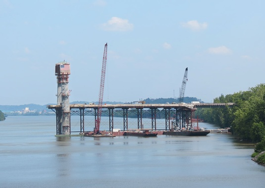 View from the Kentucky Backspan from River. (Photo Courtesy of Brayman Construction Corporation)